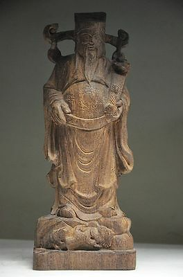 Collectible Chinese Agilawood Hand Carved God Of Wealth Statue