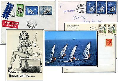4 items SAIL BOATING IN ITALY: Italian philately World Championships & postcards