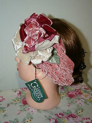 Victorian Trading Co Louise Green Ruddy Pink Rose Headband Fascinator