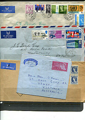 Gb Uk Qeii Early Stamp Covers Airmail To Australia X 4 Covers