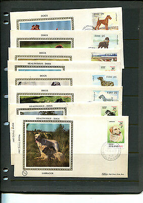 Ireland & Nz Thematic Dogs Fdc On Benham Silk Stamps Covers X 8 Covers