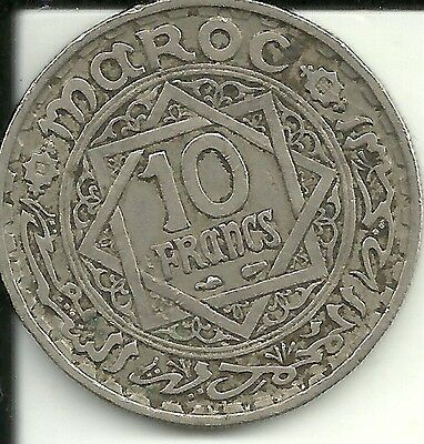 Morocco,  10 Francs, 1946, KM:44  Paris, Copper-nickel,   Mohammed V,