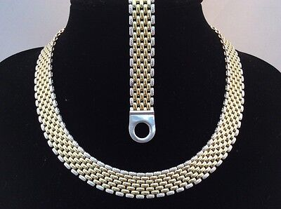 Solid Silver & Gold Plated Bracelet & Necklace Set. Diamond Cut Reversible items