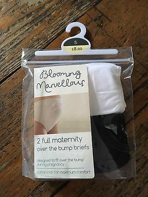 Blooming Marvellous White And Black  Maternity Bump Briefs Knickers Small