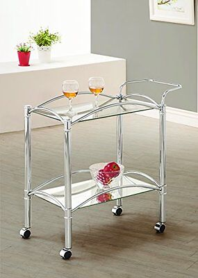 Metal Rolling Cart Serving Tray Trolley Tea Bar Storage Rack Wine Table Kitchen
