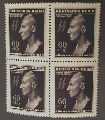 WWII 3Rd Reich Rare WW2 SS Heydrich Death Mask Stamp MNH   BLOCK OF 4