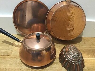 Vintage Copper Culinox Swiss Saucepan, Jelly Mould, Pie Dish, tin lined & Plate