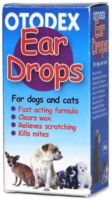 Veterinary Dog Cat Ear Drops Otodex Wax Removal Mites Cleaner 14 Ml New