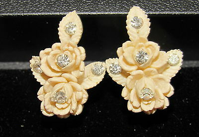 VINTAGE Rhinestone CARVED CELLULOID ROSES FLOWER EARRINGS Featherweight Wedding