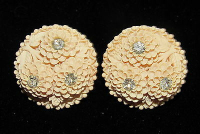VINTAGE Carved CELLULOID Rhinestone CHRYSANTHEMUM FLOWER EARRINGS Featherweight