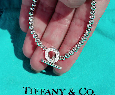 Tiffany & Co Sterling Silver 4mm Toggle Bead Bracelet 7 Inch