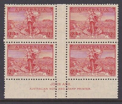AUSTRALIA 1936 2d RED TASMANIA CABLE IMPRINT BLOCK OF 4  Mint Unhinged