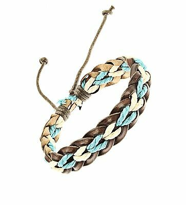 Plaited Leather Cord Strap Bracelet Wristband White And Turquoise Surf Surfer