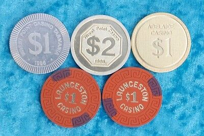 Vintage collection of mixed casino chips / tokens
