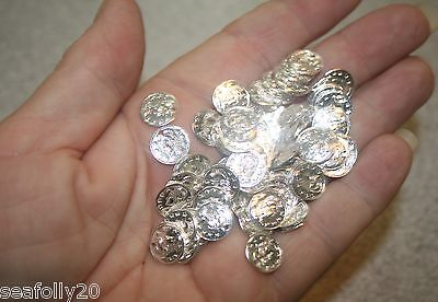 100 x 10mm roman coin Tibetan silver color charm beads - combined post savings