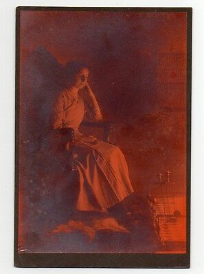 lady Sitting By Fire Victorian Photograph Original Antique Underexposed