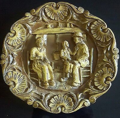 Antique Germany black forest carved wall plaque