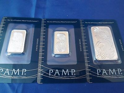 PAMP Suisse Lady Fortuna 10g ,1/2oz & 1oz .999 Silver Bar .999 fine bullion