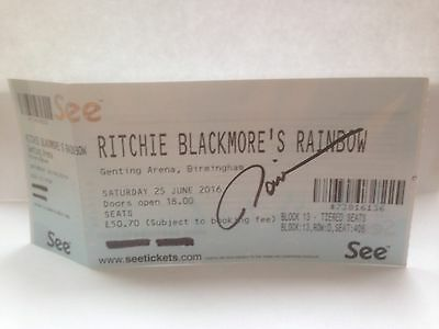 Ritchie Blackmore Rainbow signed tour ticket Ronnie Romero
