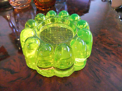 Vintage Citrine Uranium Glass Piano Insulator