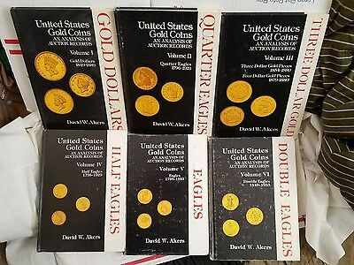 Akers united states gold coin analysis 6vol $1,2.5,3,4,5,10,20 complete