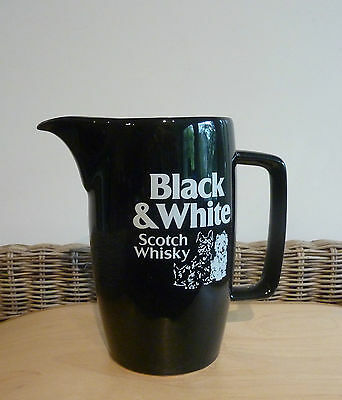 """Vintage WADE  """"BLACK & WHITE"""" Scotch Whisky Water Jug -- Made in England"""