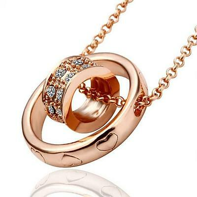 Women Crystal Chain Rhinestone Necklace Love Heart Ring Pendant Gift Rose Gold