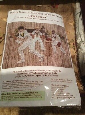 """Vintage Quaker Tapestry Crewel Embroidery Sewing Kit """" Cricketers """" Sale £14"""