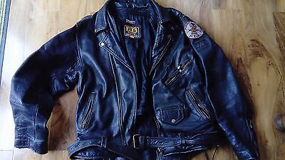 JTS  Black leather biker jacket 42