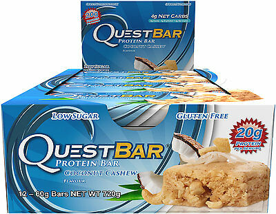 Box of 12x Natural Coconut Cashew Quest Bar Nutrition Protein
