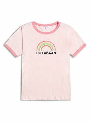 NEW Pretty Pink Girls Rainbow T Shirt / Top  Age 4-5 Years