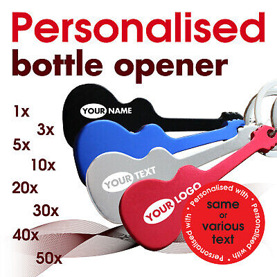 Personalised Keyring Bottle opener *GUITAR* engraved with text, name, logo