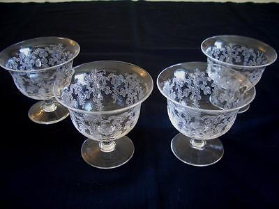 Set of 4 Antique Blown Glass Etched Low Stemmed Dessert Dishes