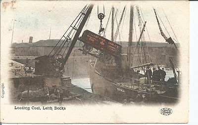 Original Vtg pc Lothian Railway loading coal onto Vistula at Leith Docks pu 1907