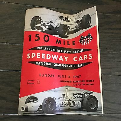 Vintage 1967 Wisconsin State Fair Park Speedway Cars Race Program USAC REX MAYS