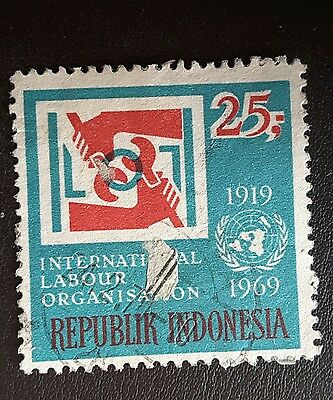 Indonesia postage stamp 50th anniversary of I.L.O