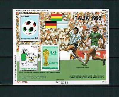 Bolivien Bolivia 1988 Minr Block 177 ** / mnh flag football WM Itaia Mi 30 €