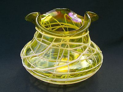 Antique Kralik Veined Trefoil Iridescent Bohemian Jugendstil Glass Vase