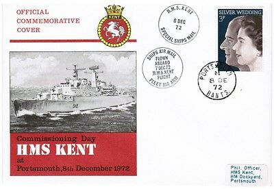 GB FDC Commissioning Day HMS Kent at Portsmouth 8th December 1972