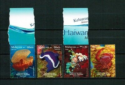Malaysia 2015 set of 3 ** / mnh joint issue Thailand Krebs Qualle Meerestiere
