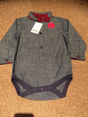 Next Shirt Blue Bow Tie 12-18months New Tags