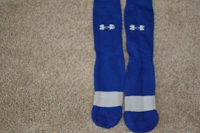 Under Armour Youth Soccer Socks Blue White Size L Youth GUC