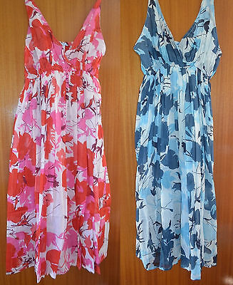 Job Lot Wholesale 16 Hand Printed Cotton Floral Holiday Summer Dresses 2 Colours