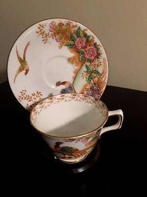 Sutherland EXOTIC  Bone China Cup and Saucer   Exotic Birds & Flowers Pattern