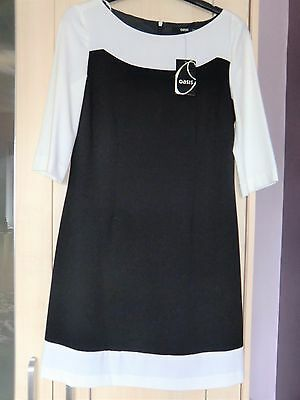 Womens Oasis Tunic Dress Black and White Size 8