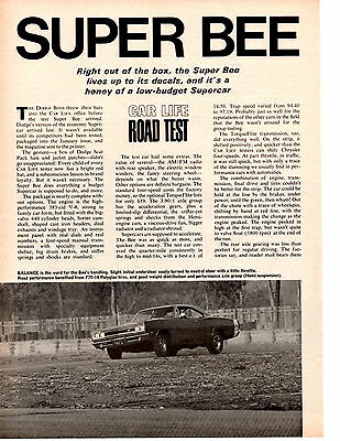 1969 Dodge Super Bee 383/335 Hp ~ Original 5-Page Road Test / Article / Ad