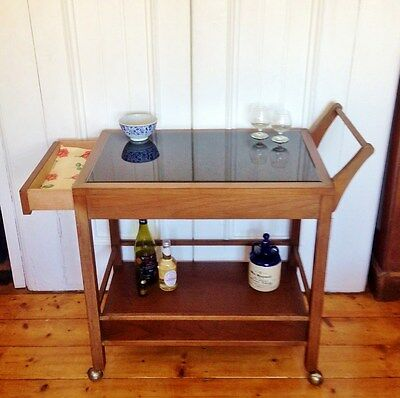 Fab Retro Mid-Century Modernist Teak Bevel Glass Top Drink/serving Trolley/cart