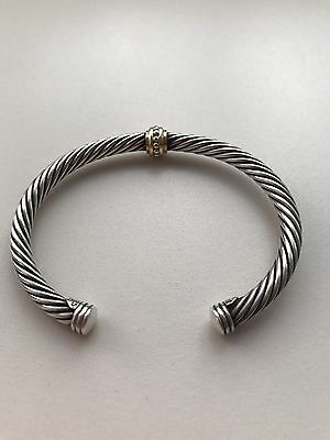 David Yurman Sterling Silver And 14ct Yellow Gold Cable Cuff Bracelet