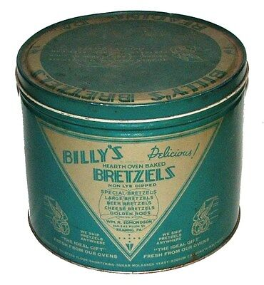 VINTAGE BILLY'S PRETZELS TIN  CAN -READING PA  - Surprise Inside ?