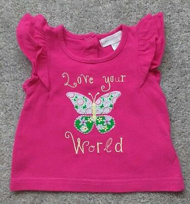 Pumpkin Patch Baby Girl Pink Embroidered & Stitched Butterfly Top 0-3 Months
